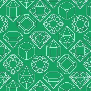 Green and White Diamond Gem Jewel Shape Outlines