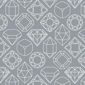 Grey and White Diamond Gem Jewel Shape Outlines