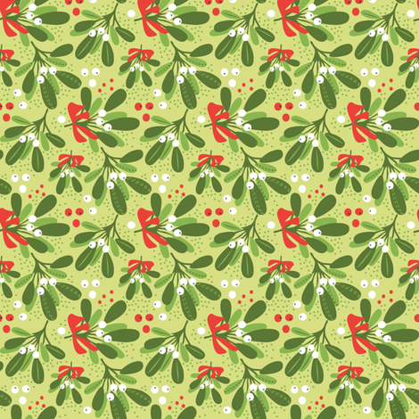 Mistletoe Night on green ditsy fabric by robinpickens on Spoonflower - custom fabric