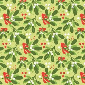Mistletoe Night on green ditsy