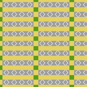 Don't miss the point (yellow/grey/green geo strips)