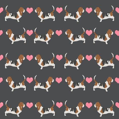 basset hound love fabric cute valentines hearts dog fabric best basset hound design fabric by petfriendly on Spoonflower - custom fabric