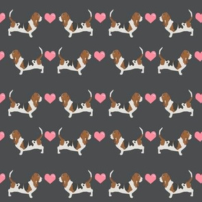 basset hound love fabric cute valentines hearts dog fabric best basset hound design