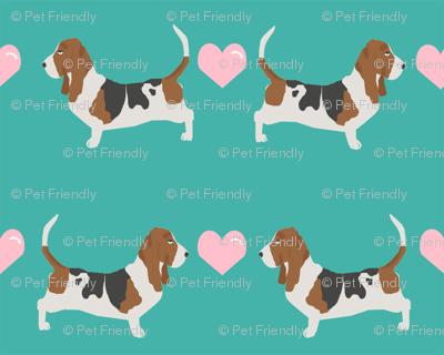 basset hound love fabric cute valentines hearts dog fabric best basset hound design