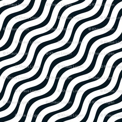 Black and White and White Stripe Wavy Diagonal