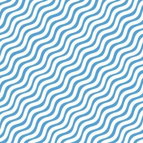 Carolina Blue and White Stripe Wavy Diagonal