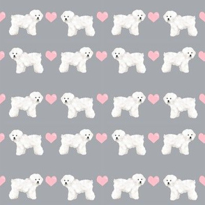 bichon frise love fabric cute valentines hearts dog fabric best bichon frise design