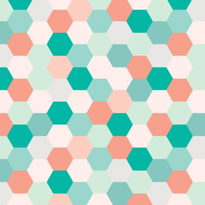 mermaid hexagons // coral + teal