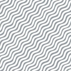 Grey and White Stripe Wavy Diagonal