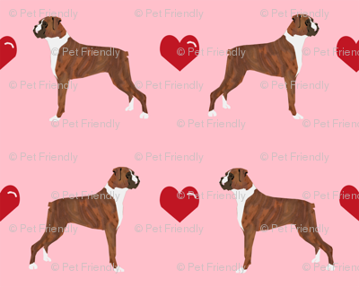 Boxers Love Fabric Cute Valentines Hearts Dog Fabric Best