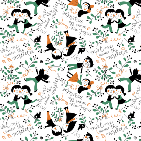 Meet me under the mistletoe fabric by bora on Spoonflower - custom fabric