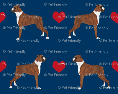 boxers love fabric cute valentines hearts dog fabric best boxer dog fabric