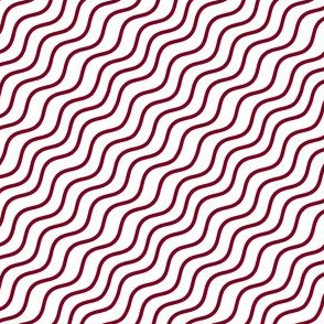 Garnet and White Diagonal Wavy Good Vibes BoHo Hawaiian Stripe