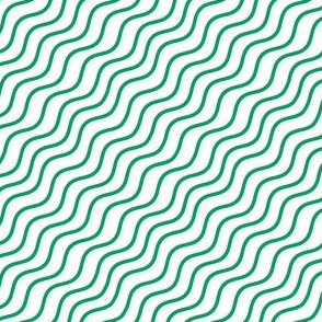 Green and White Diagonal Wavy Good Vibes BoHo Hawaiian Stripe