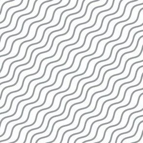 Grey and White Diagonal Wavy Good Vibes BoHo Hawaiian Stripe