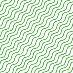 Green and White Diagonal Wavy Good Vibes BoHo Hawaiian Stripe