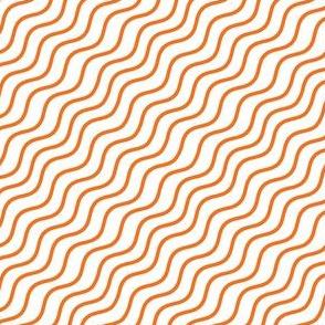 Orange and White Diagonal Wavy Good Vibes BoHo Hawaiian Stripe