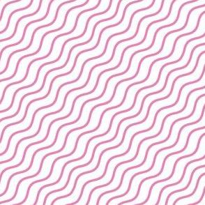 Pink and White Diagonal Wavy Good Vibes BoHo Stripe
