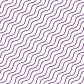 Purple and White Diagonal Wavy Good Vibes BoHo Stripe