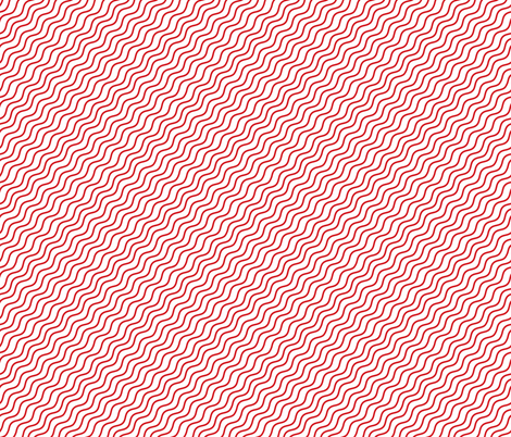 Red and White Diagonal Wavy Good Vibes BoHo Stripe fabric by khaus on Spoonflower - custom fabric
