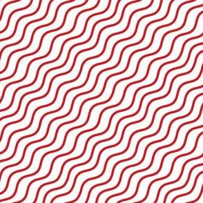 Red and White Diagonal Wavy Good Vibes BoHo Stripe