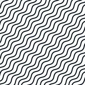 Black and White Diagonal Wavy Good Vibes BoHo Stripe