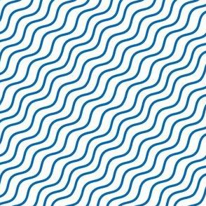 Light Blue Carolina and White Diagonal Wavy Good Vibes BoHo Stripe