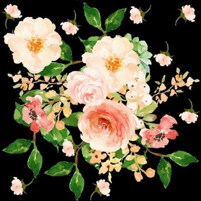 Floral Peach Delight - Black Large Print