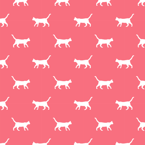 brink pink cat silhouette fabric best cats design kitten fabric cats fabric cat silhouette design fabric by petfriendly on Spoonflower - custom fabric