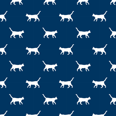 navy cat silhouette fabric best cats design kitten fabric cats fabric cat silhouette design fabric by petfriendly on Spoonflower - custom fabric