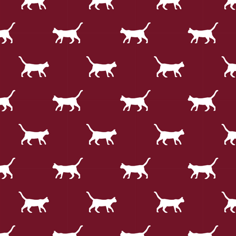 ruby red cat silhouette fabric best cats design kitten fabric cats fabric cat silhouette design fabric by petfriendly on Spoonflower - custom fabric