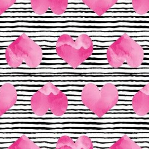 watercolor hearts and stripes girls pink hearts cute valentines love design
