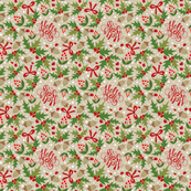 Tea Towel - Festive Holly Jolly Tan