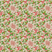 Tea Towel - Festive Holly Jolly Tan