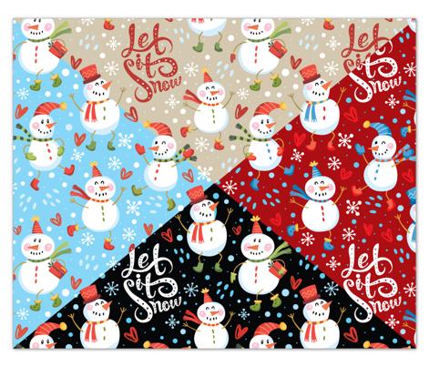 Festive Snowmen - Red/Blue