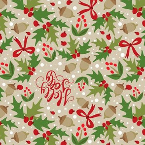 Festive Holly Jolly - Tan