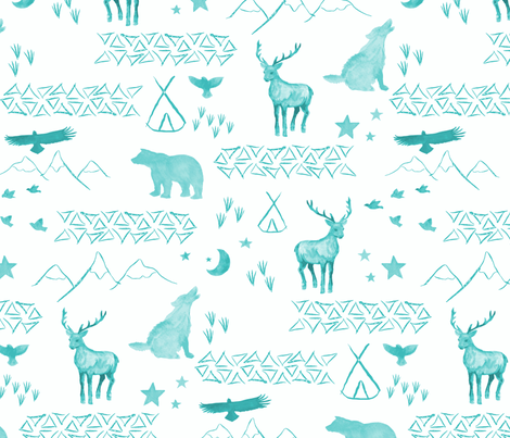 Watercolor Woodland mint fabric by mrshervi on Spoonflower - custom fabric