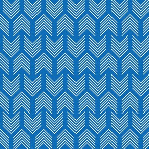 Feathers Arrow Chevron Blue and White