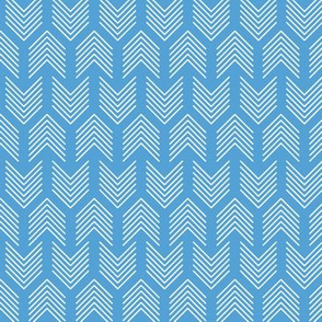 Feathers Arrow Chevron Light Blue and White