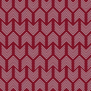 Feather Arrow Chevron Garnet and White