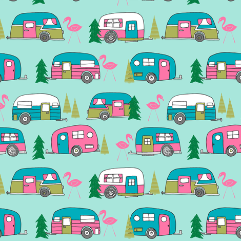 vintage camper // mint and pink vintage campervan fabric cute retro flamingo pattern print andrea lauren design fabric by andrea_lauren on Spoonflower - custom fabric