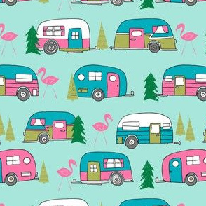 vintage camper // mint and pink vintage campervan fabric cute retro flamingo pattern print andrea lauren design