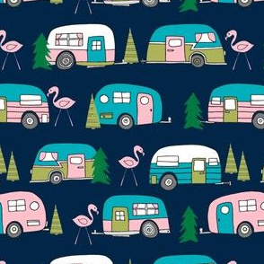 vintage camper // campervan fabric retro flamingo design cute retro campervan fabric andrea lauren pink and navy design