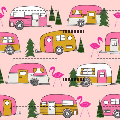 Vintage Camper Pink Retro Van Cute Design Camping