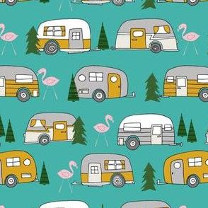 vintage camper // retro camper van flamingo retro vintage florida life cute summer camping design andrea lauren fabric