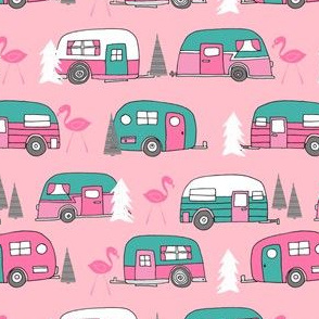 vintage camper // pink and turquoise camper van retro flamingo florida life cute andrea lauren design andrea lauren fabric