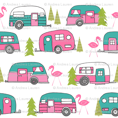 Vintage Camper Lime Green And Pink Van Retro Summer Flamingo Camping Fabric