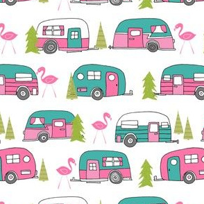 vintage camper // lime green and pink vintage camper van retro summer flamingo camping fabric andrea lauren design