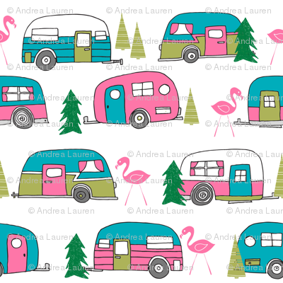 Vintage Camper Retro Vintage Campers Cute Pink And