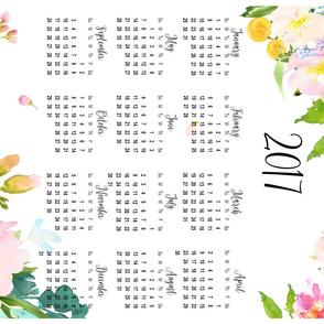 """2017 Floral Calendar - 27""""x18"""" Fat Quarter"""